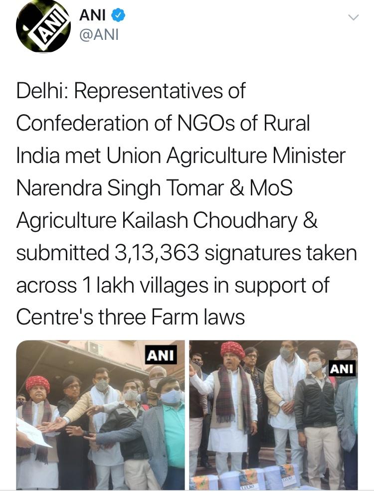 कृषि कानूनों के समर्थन में 20 राज्यों के एक लाख गाँवों के 3,13,363 किसानों के हस्ताक्षर वाले समर्थन पत्र
